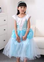 free shipping 22015 New girl princess dress, blue Cinderella dress Cinderella children's clothing kids party dress size S M L