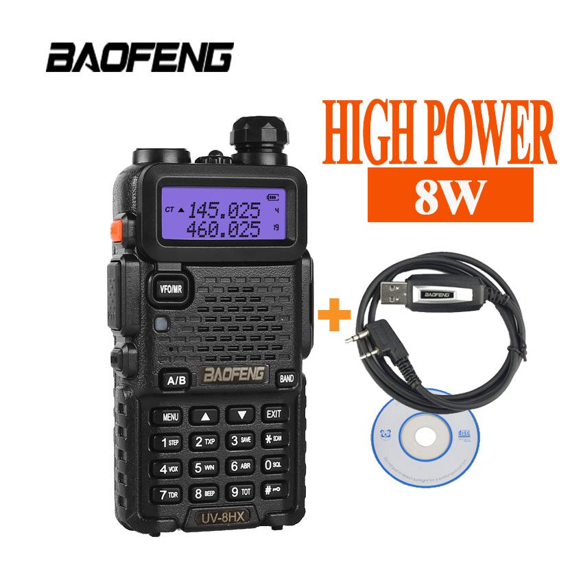 Portable radio ensembles uv 5r 8 W baofeng 8HX amateur radio, sœur talkie-walkie radio vertex baofeng gt-3 gt-3tp bf-f8 bf888s + câble