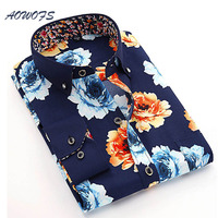 Mens Floral Shirts Long Sleeve Chinese Style Allover Flowers Casual Shirts 2016 Fall Men Printed Clothing