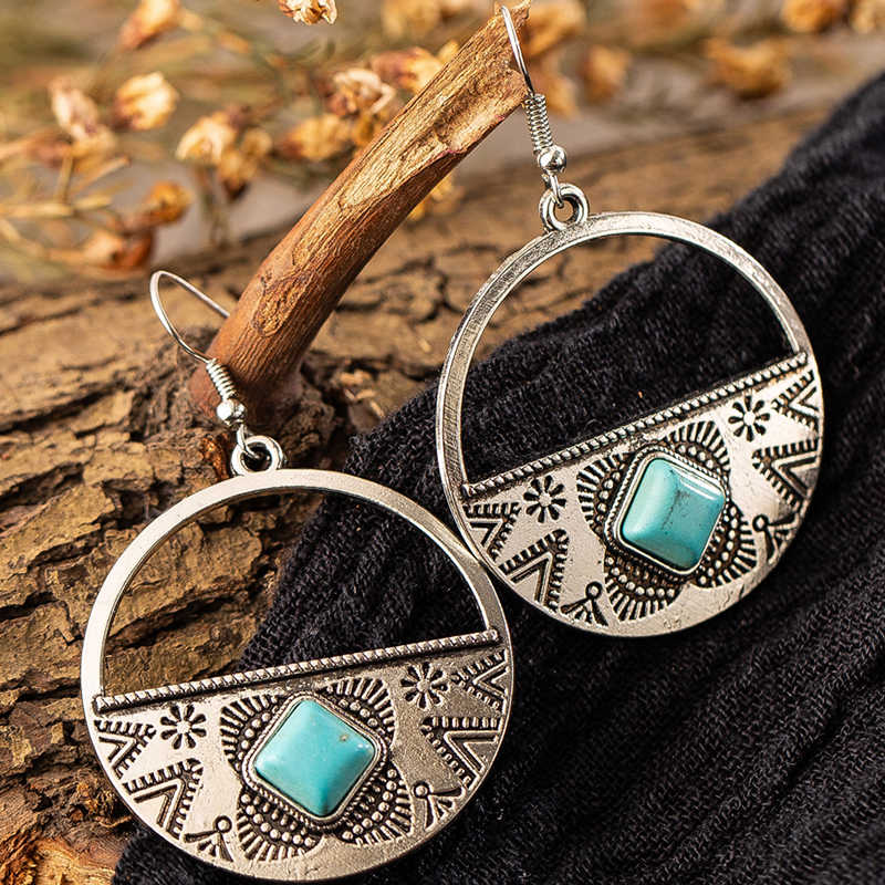 Silver women earrings indian statement jewelry Big round circle alloy pendant vintage earrings for womens boho geometric earings