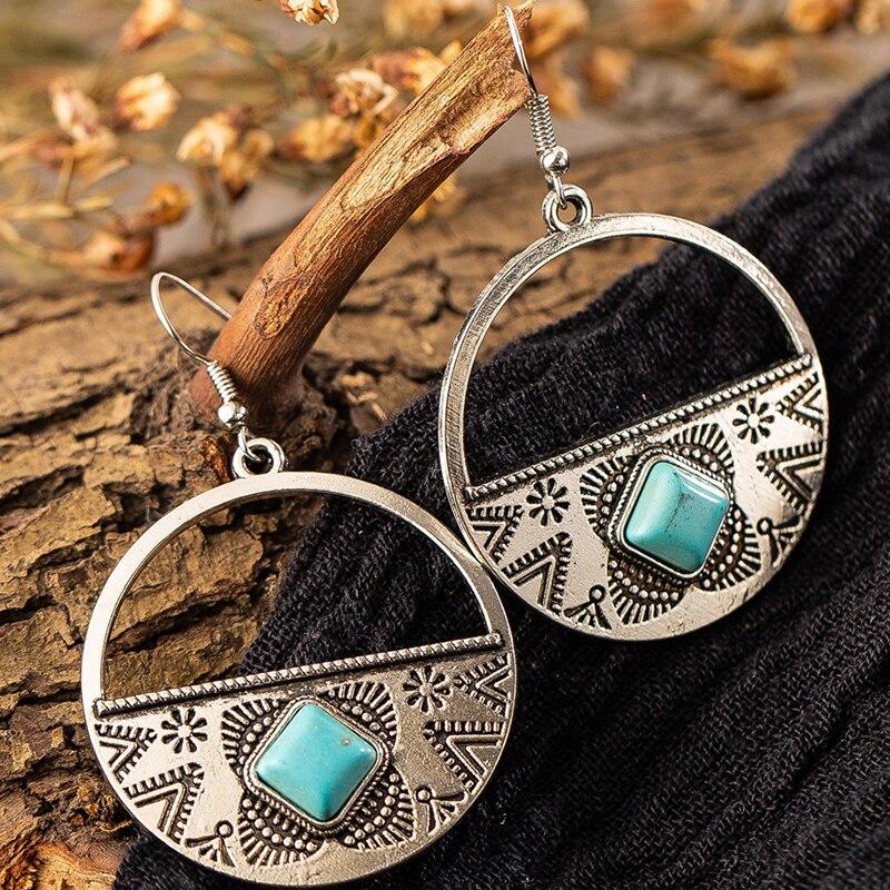 Cor de prata brincos femininos indianas jóias indianas grande liga redonda pingente brincos vintage para womens boho brincos geométricos