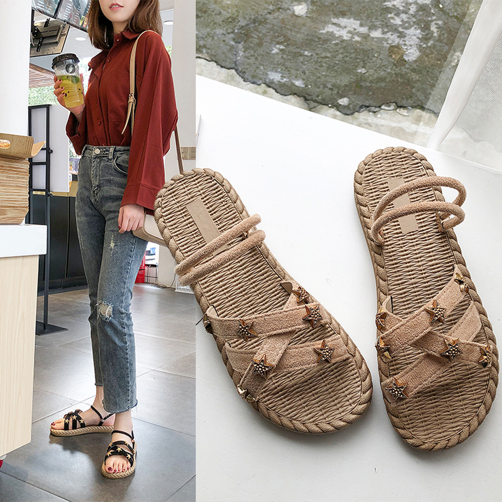 ONTO-MATO Elastic-Slippers Women's Sandalen Cross-Straps Open-Toe Flat Hollow Famous-Brand