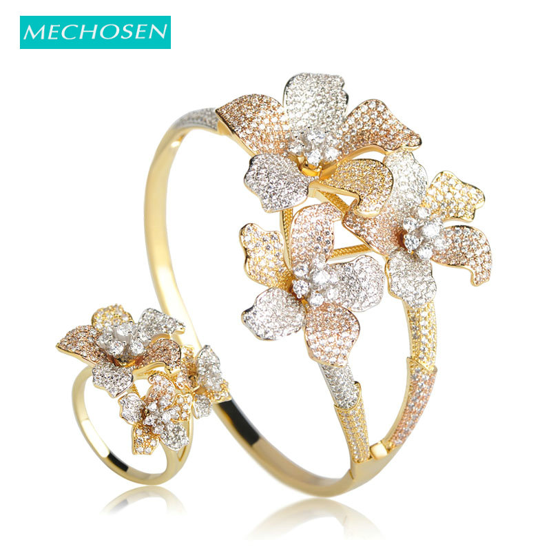 MECHOSEN Flower 3 Tones Big Bangles Ring Set Prong Setting Zirconia Jewelry Sets For Women Party Hand Accessories Anillos Joyas
