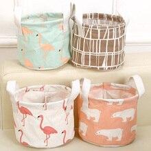 Cute Printing Cotton Foldable Linen Desktop Storage Organizer Sundries Storage Box Cabinet Underwear Storage Basket  Laundry