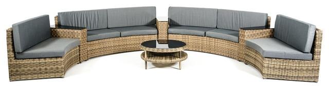 2017 Rattan Furniture Outdoor Wicker Half Round Style 8 Seater Sofa Set - 2017 Rattan Furniture Outdoor Wicker Half Round Style 8 Seater Sofa