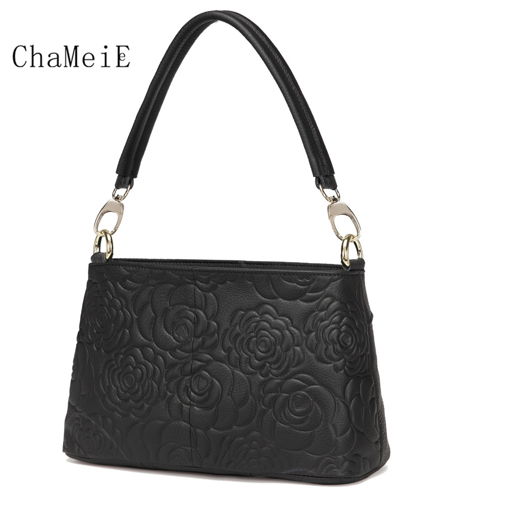 Newest Fashion Women Totes Luxury Brand Cow Leather Shoulder Bag Elegant Style Flower Zipper Handbag fashion elegant style colorful flower pattern scarf for women