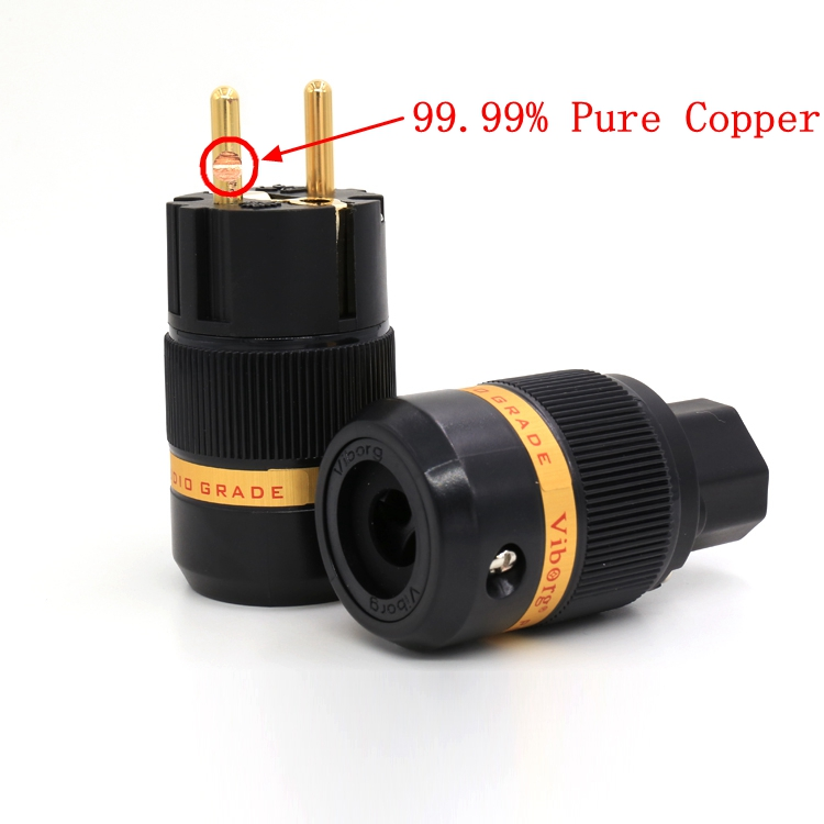 High End Viborg Audio Pure Copper Gold Plated EU Schuko Power Plug+ IEC Connector jack for DIY Hifi Electrical Power Cable  viborg audio hi end pure copper 24k gold plated eu schuko power plug for hifi diy power cable extension adapter