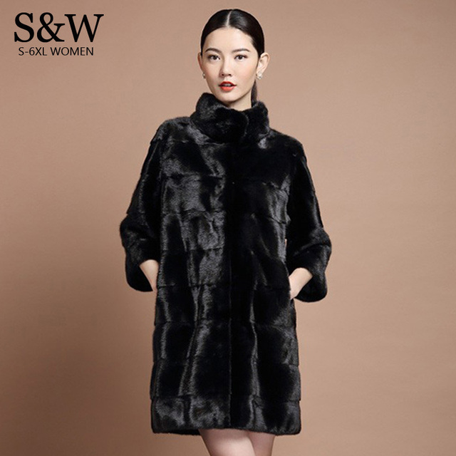 0c2c0f453cb XXXL 4X 5XL 6XL Plus Size Women s Mandarin Collar Stripe Section Long Mink  Fur Coat Winter Faux Rabbit Fur Coats Cheap Fur Coat