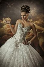 Ball Gown Gothic Style Corset Basque Wedding Gown Lace with Beading 2015 robe de mariage
