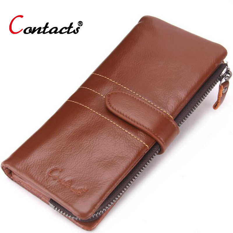 цена CONTACT'S Brown Genuine leather Men Wallet Men Purse Long Wallet Male Clutch Bag Coin Purse Zipper Credit Card Holder Phone Bag
