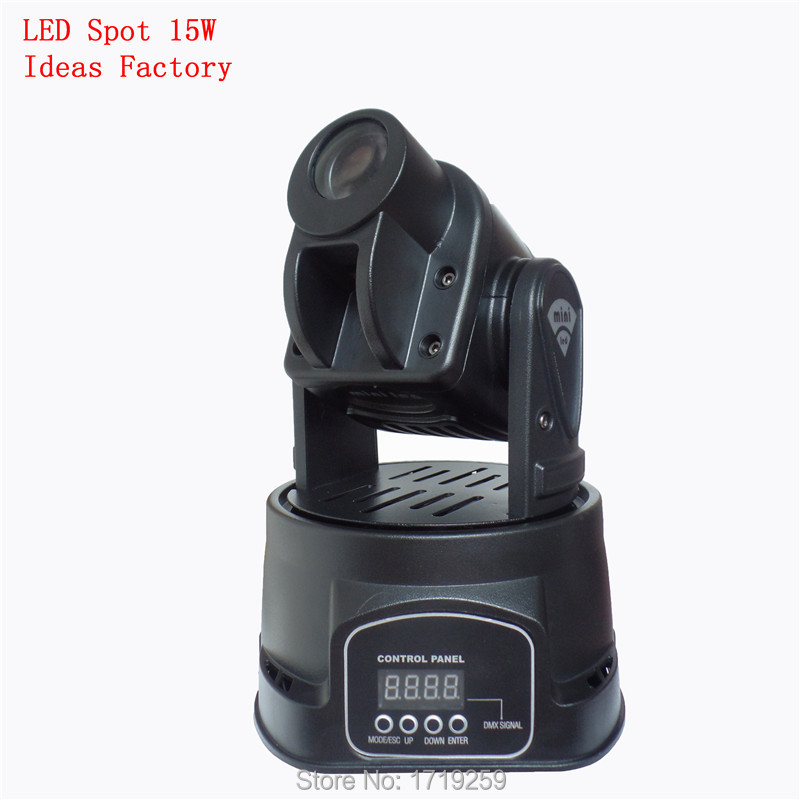 Free Shpping  LED RGB 15W DJ Mini LED Spot/Gobos Moving Head Stage Light DMX 5/13 Channels  Fast Shipping