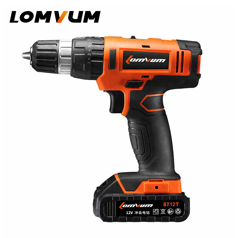 LOMVUM 12V Rechargeable Lithium/ Battery Electric household screwdriver Cordless mini Drill set power rotary tool screw gun dropshipping 4 8v electric screwdriver set multifunctional rechargeable hand drill household cordless drill with carry case