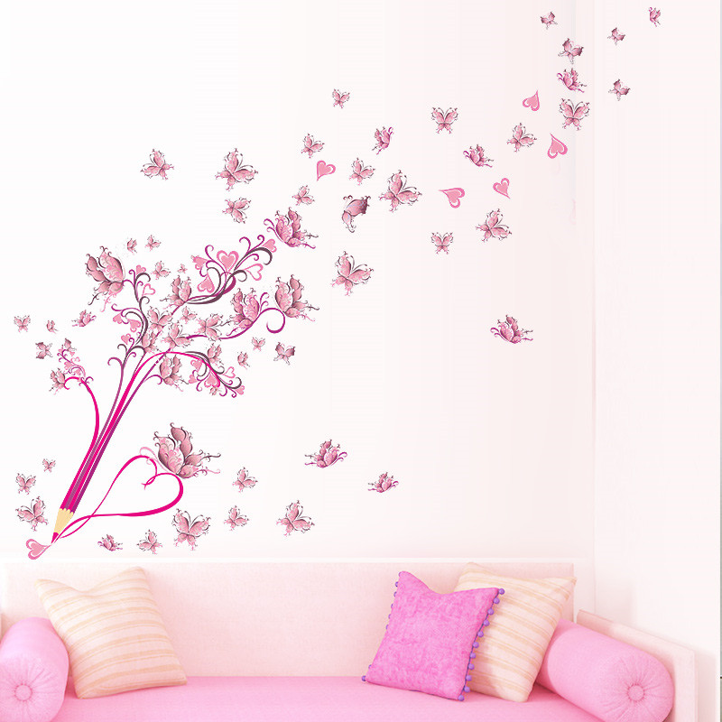 HTB1ZO41tkyWBuNjy0Fpq6yssXXa1 Charming Romantic Fairy Girl Wall Sticker For Kids Rooms Flower butterfly LOVE heart Wall Decal Bedroom Sofa Decoration Wall Art