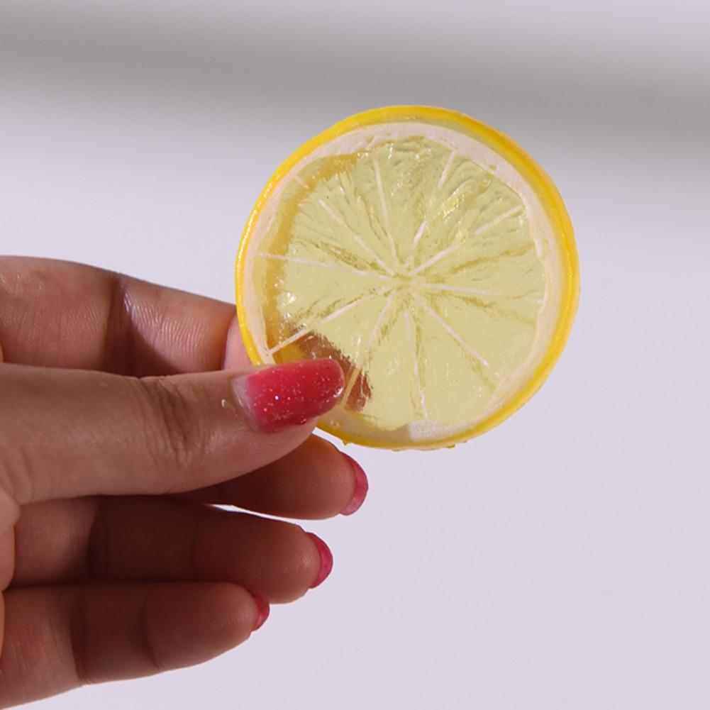 10PCS Mini Artificial Simulation Lemon Slices 5cm Resin Fake Artificial Fruit Model Party Kitchen Wedding Decoration