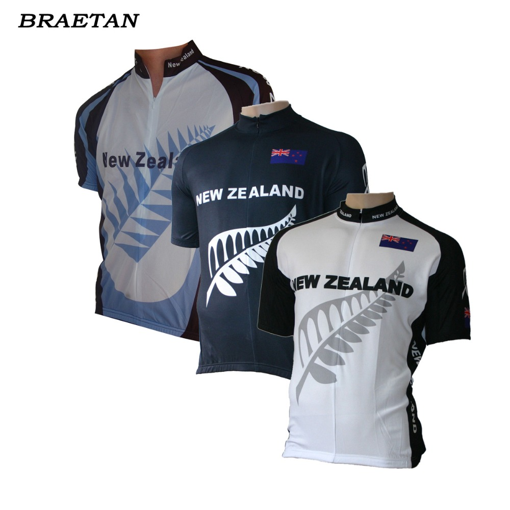 New Zealand Cycling Jersey White Black Blue Cycling Clothing Classic Style Bicycle Clothing Summer Can Customized Braetan
