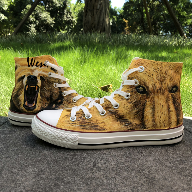 Wen Design Custom Men's Hand Painted Shoes Grizzly Bear High Top Boys Man's Canvas Sneakers for Birthday Christmas Gifts цена