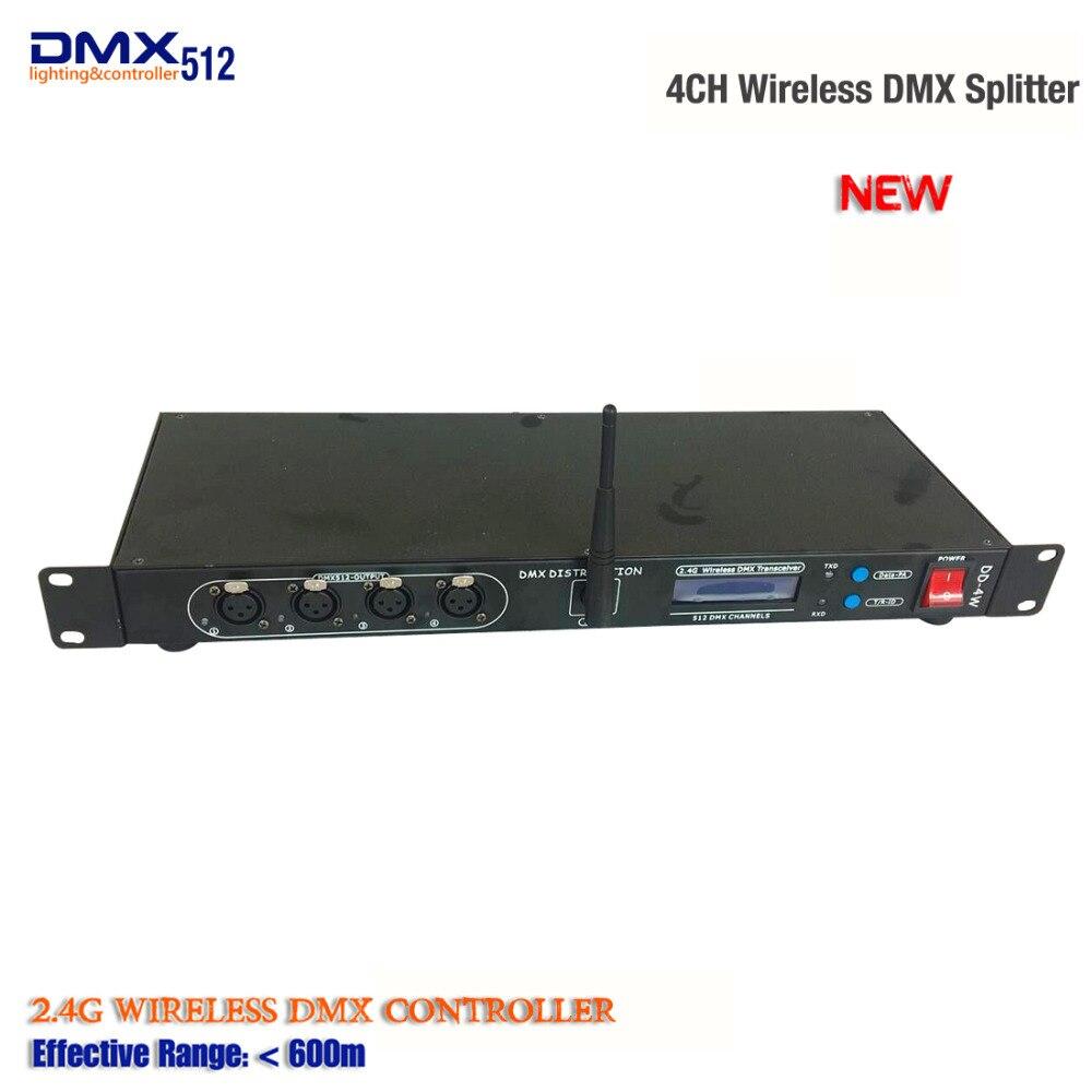 Récepteur Dmx sans fil 2.4G et écran LCD 4CH séparateur DMX DMX512 séparateur de lumière amplificateur de Signal lumineux de scène