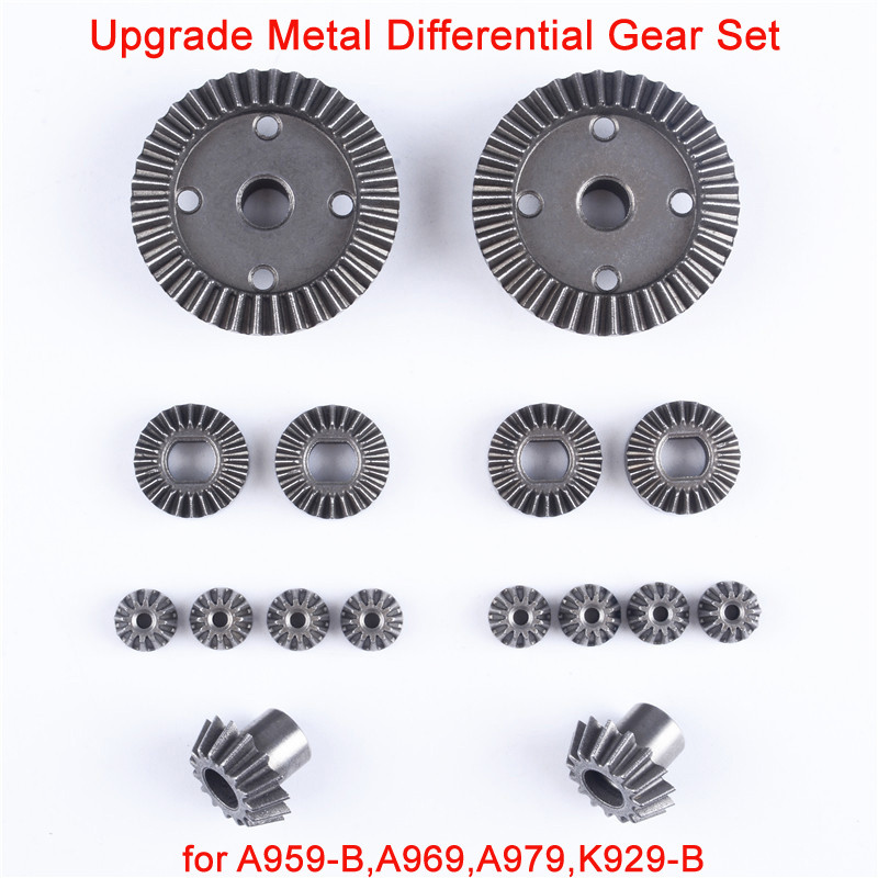 Wltoys A959 RC Car Spare Parts Upgraded Metal Differential Gear Set Differential Large Gear Driving Gear For A959-B/A979-B Etc.