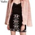 Mujeres vintage bordado de la flor de terciopelo otoño invierno negro mini faldas faldas faldas mujer saia europea bsq507