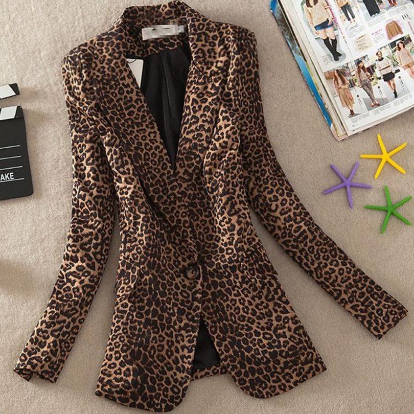 Women Blazer Leopard Print Suit Jacket Female One Button Outerwear Casual Long Sleeve Coat Plus Size 3Xl