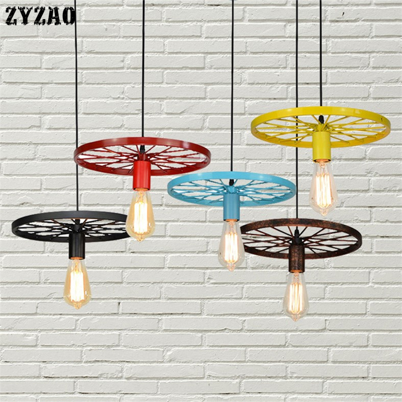 Retro Industrial Wheel Pendant Lights Vintage Bar Dining Room Kitchen Hanging Lamps Iron Art Restaurant Home Deco Light Fixtures
