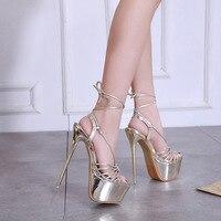 2019 New Sandals Women Heeled Sandals Sexy Bandage Ankle Strap Pumps Super High Heels 17 CM Waterproof platform Lady Shoes Gold