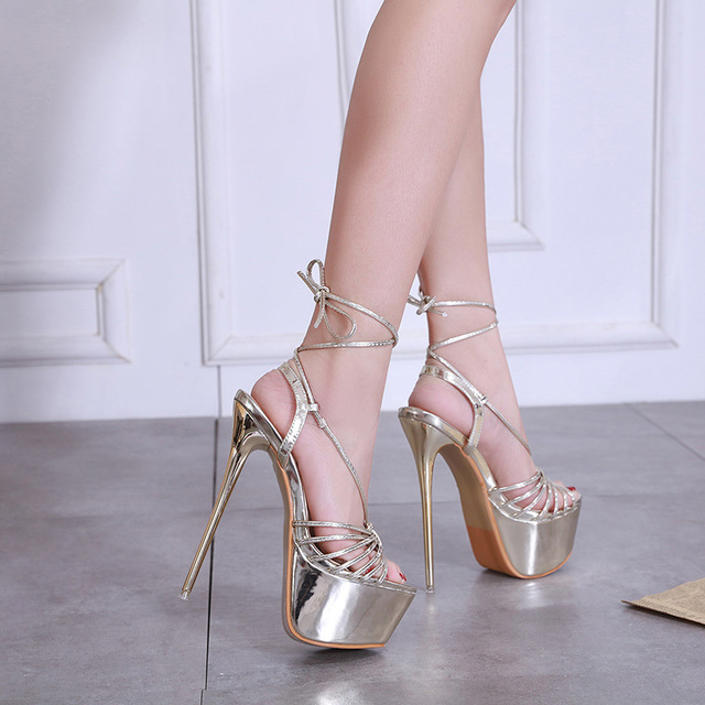 2019 New Sandals Women Heeled Sandals Sexy Bandage Ankle Strap Pumps Super <font><b>High</b></font> <font><b>Heels</b></font> <font><b>17</b></font> <font><b>CM</b></font> Waterproof platform Lady Shoes Gold image