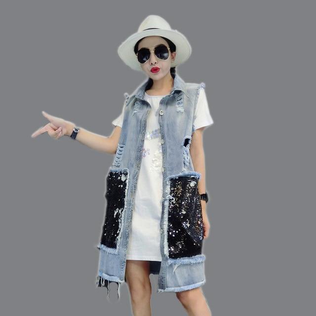 [soonyour] 2017 HOT new autumn lapel blue black big pockets Cowboy Vest long Loose Coat jacket women fashion tide cool HA06151M