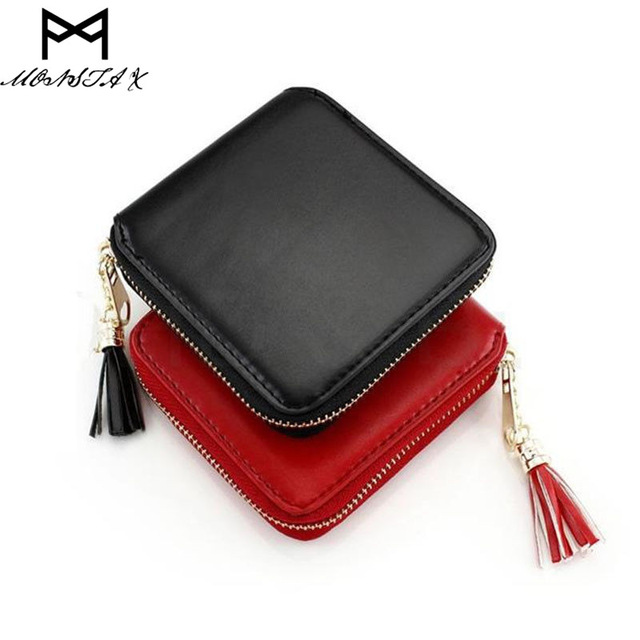 MONSTA X Fashion Women Lady PU Leather Clutch Wallet Mini Card Holder Purse Short Tassel Women
