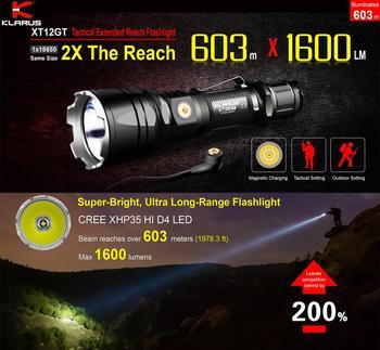 Najnowszy KLARUS XT12GT CREE LED XHP35 HI D4 1600 lumenów taktyczna latarka USB do ładowania przez 3600 mAh 18650 w tym akumulator litowo-jonowy baterii