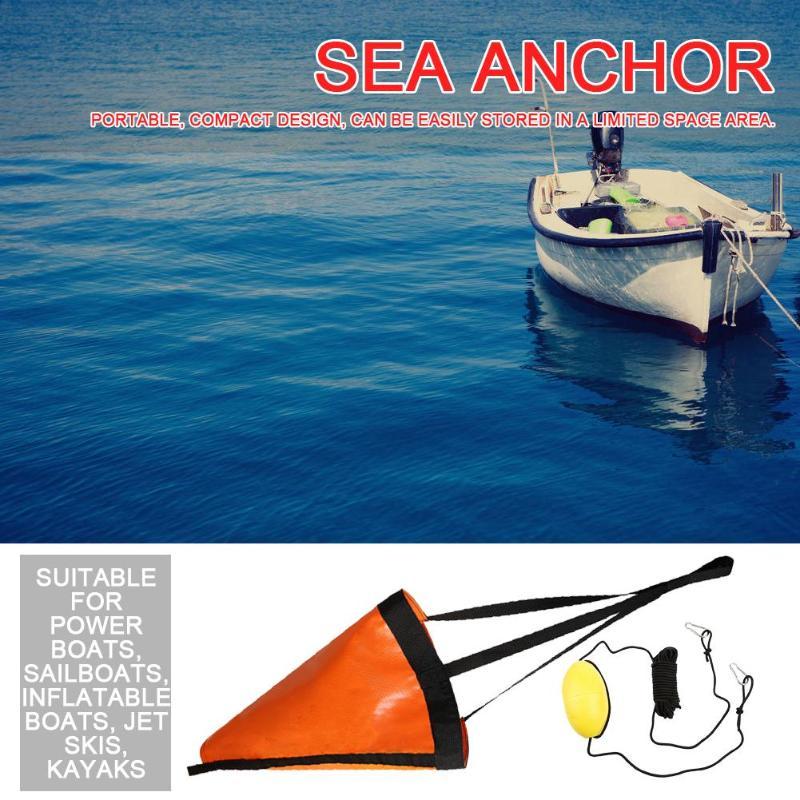 Sea Anchor Drogue Drift Sock+ 30ft Fishing Kayaking Drift Anchor Tow Rope Rowing Boat Set