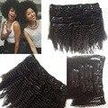Remy virgem do cabelo Chinês afro kinky cabelo encaracolado grampo em extensões do cabelo para senhora negra de cabelo aliexpress atacado apoio