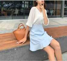 Chiffon shirt casual suit 2019 summer new solid color womens ladies half sleeve bag hip skirt