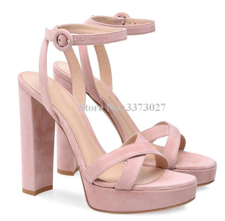 Sweet Pink Suede Cross Belt Girl Chunky Heel Platform Sandals Lady Buckle Strap Thick Heel Office Dress Sandals Shoes PumpsSweet Pink Suede Cross Belt Girl Chunky Heel Platform Sandals Lady Buckle Strap Thick Heel Office Dress Sandals Shoes Pumps