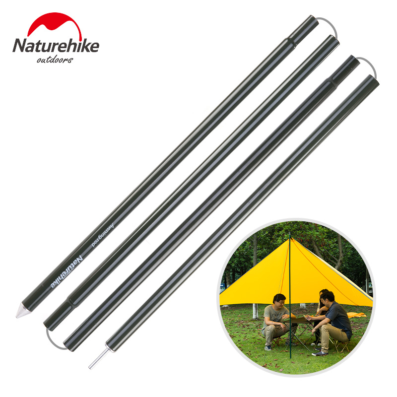 Naturehike renforcé en alliage d'aluminium auvent tige extérieure soutien pôle tente pôle (4 sections par pôle) camping auvent pôle
