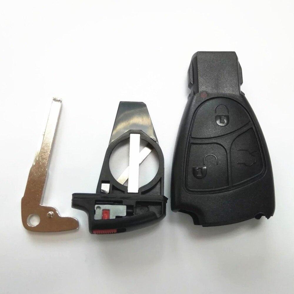 Prix pour Haute qualité Rreplacements 3 Boutons À Distance Clé Fob Mercedes pour Benz 3B 3BT Batterie clip + petite clé