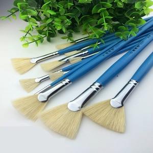 Image 4 - High Quality Bristle Hair Fish Tail Fan Shape Paint Brush 12pcs Artist Acrylic Oil Painting Brushes Set Landscape Drawing Brush