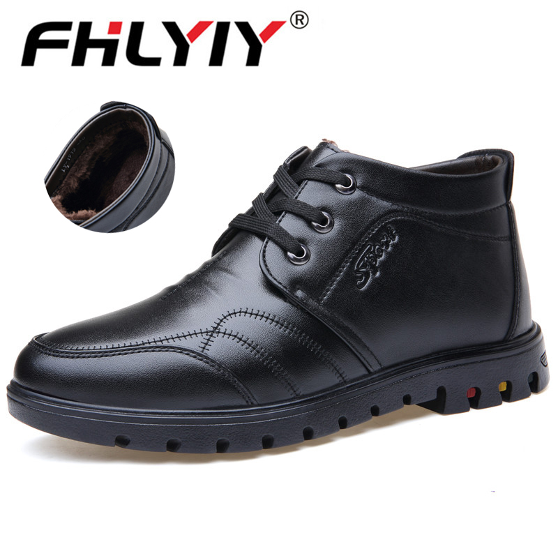 Quality Brand Men Shoes Fashion Boots Inside Fur Winter Boots Male Brown Black Casual Shoes Ankle Genuine Leather Boots Botas