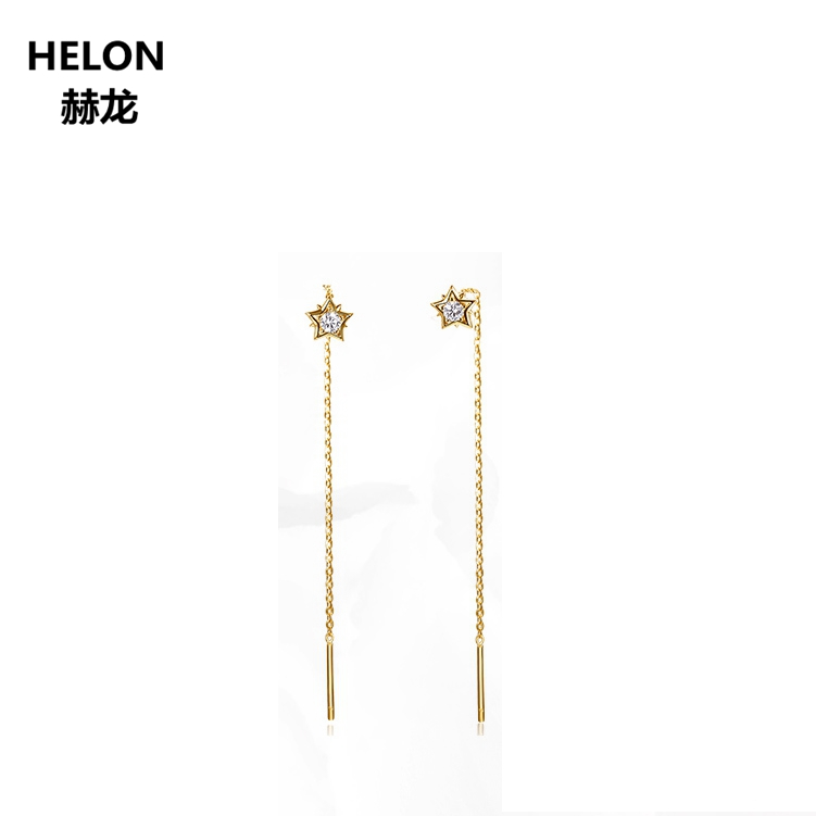 Solid 18k Yellow Gold 0.13ct SI/H Full Cut Natural Diamonds Drop Earrings for Women Engagement Wedding Party Unqiue Earrings solid 18k yellow gold 0 07ct si h full cut natural diamonds drop earrings for women engagement wedding fine jewelry chain