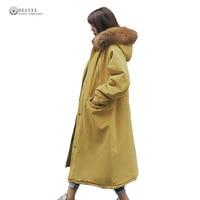 X Long Winter Cotton Coat Women Big Fur Hood Down Parka Ladies Fashionable Big Yard Wadded