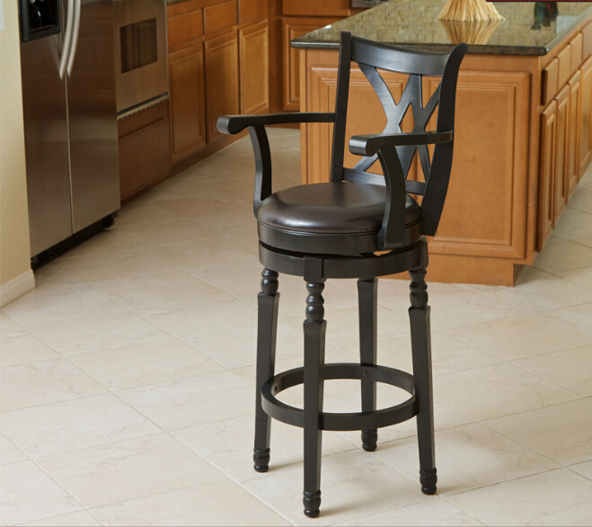 Free Shipping Accent Kitchen Chair With PU Leather Seat Solid Wood Swivel Function