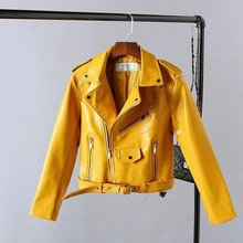 2016 New Autumn Fashion Street Women s Short Washed PU Leather Jacket Zipper Bright Colors New