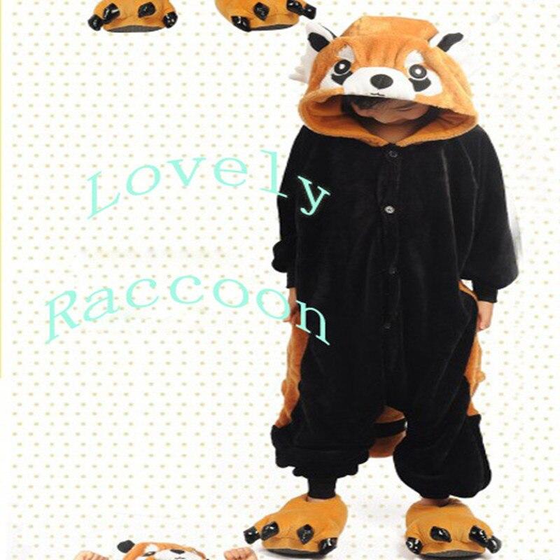 Lovely Kids Unisex Children Animal Pajamas Anime Cosplay Costume Onesies Raccoon Flannel Animal Pajamas Anime Cartoon Costumes