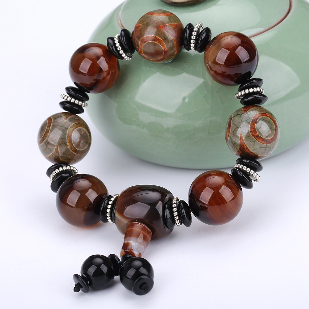 Natural Stone Black Agate Bead Bracelet Women Men Yoga Jewelry Buddha Prayer 3eyed DZi Prayer Jewelry Men Bracelet Chinese Charm black agate bead bracelet 17cm