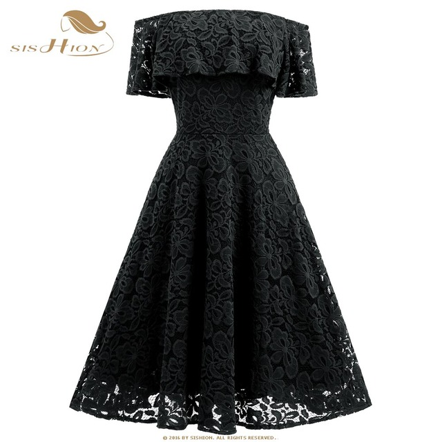 dbe9b7c7fe47 SISHION Black Lace Dress Sexy Women Off Shoulder Slash Neck Apricot Navy Blue  Wine Red Purple Floral Party Summer Dress VD0698