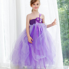 Purple Children Kids Girl Wedding Dress Flower Girl Dresses Princess Tulle Tutu Dress For Party Pageant Festival Prom Vestido