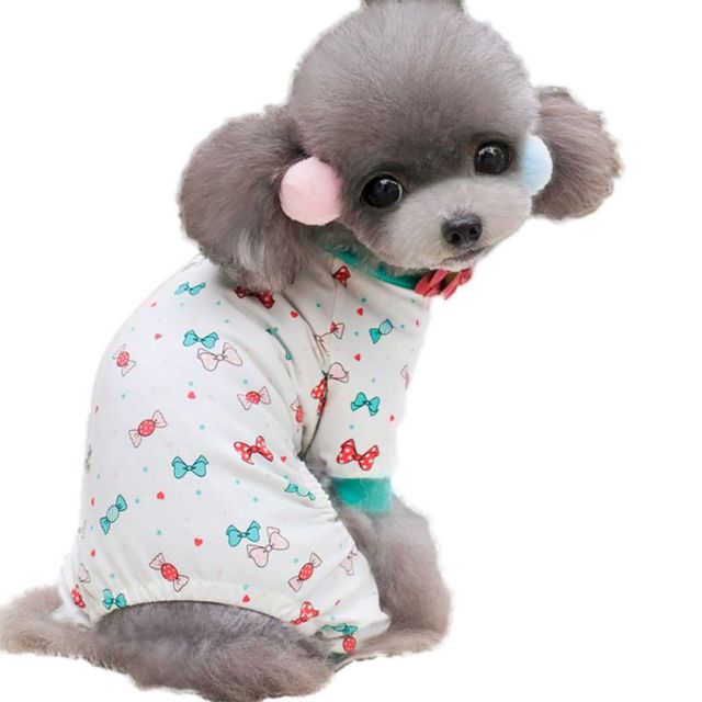 Perro de mascota arco nudo pijamas Monos Mamelucos perro suministros ...