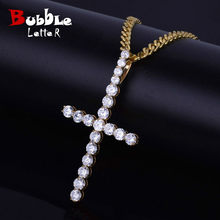 Men Women Zircon Cross Pendant Gold Silver Copper Material Iced AAA CZ Cross Pendants Necklace Chain Fashion Hip Hop Jewelry(China)