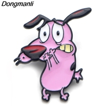 P3760 Dongmanli Cute COURAGE The Cowardly Dog Metal Enamel Brooches and Pins for Lapel Pin Backpack Badge Gifts Collar Jewelry