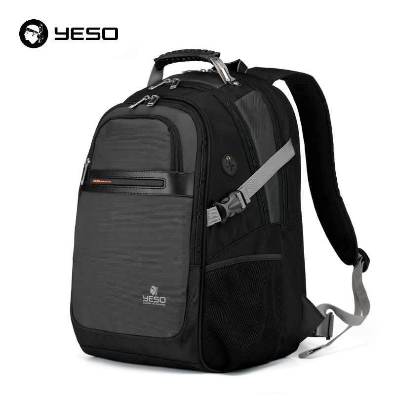 YESO черный рюкзак для ноутбука мужской водонепроницаемый 15,6 дюймов рюкзак для ноутбука для женщин 2019 новая мода большой емкости рюкзак Mochila